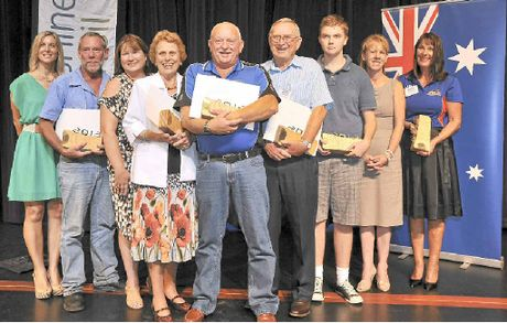 HONOURED: Janelle Logan (left), Phillip Moran, Jacqui Deane, Jean Sandell, Garry Church, Colin White, Dan Crosby (accepting on behalf of brother Adem), Kerri Dunn and Leanne Hipwood.