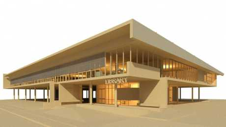 AN artist&#39;s impression of the Sir Earle Page Library to be built in Grafton. A ceremony to celebrate the start of construction of the building scheduled for tomorrow has been postponed.