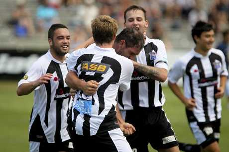 EQUALISER: Jarrod Smith savours his goal as Hawke's Bay United teammates ( from left), Dakota Lucas, Conor Tinnion (back to camera), Stephen Hoyle and Sean Lovemore join in the celebrations. INSET: Referee Gareth Sheehan.