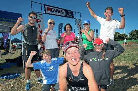 GREAT EFFORT: Lyndy Wickham (front centre) with some of the people she coaches at yesterday's Eves Triathlon Series at Pilot Bay, Mount Maunganui. Back row: Felipe Vidal, Rachel Ford, Aysha Wheeler, Renee Delamere, Brian Cullen. Front: Nic Butler, Lyndy Wickham, Caitlin Hoskin.