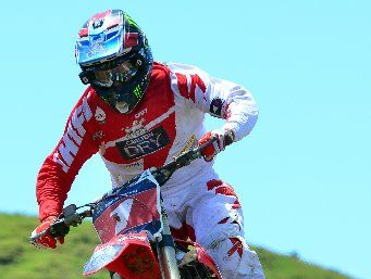 ON THE UP: Bay of Plenty's Ben Townley on his way to taking out the MX1 and invitation feature race at Woodville.