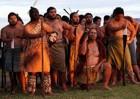 Warriors from the Takitimu waka (Nga Kaihoe o te waka Takitimu) at the first Waitangi Day dawn service at the base of Hopukiore (Mt Drury).