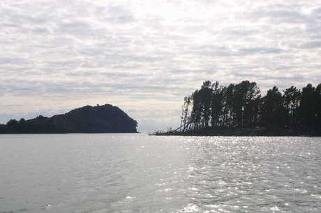 Bowentown entrance from Tauranga Harbour with Bowentown Heads on the left and Matakana Island on the right.