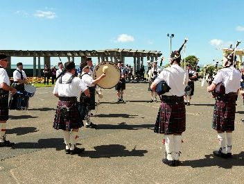 SKILLFUL LOT: The Drones and Sticks Pipe Band played last October at the Sound Shell Colonnade, where next month's competition will be staged.