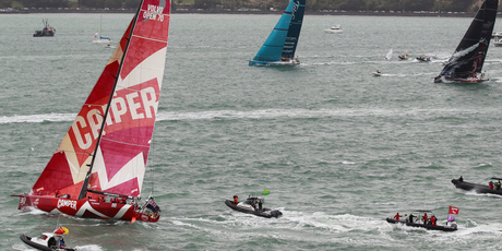 Teams leave Auckland at the start of the last year&#39;s Volvo Ocean Race. 