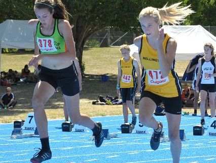 GOOD START: Wairarapa's Tyler Griffiths (right) makes a fast beginning in her 100m race.