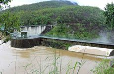 The Moogerah Dam spillway on Monday.