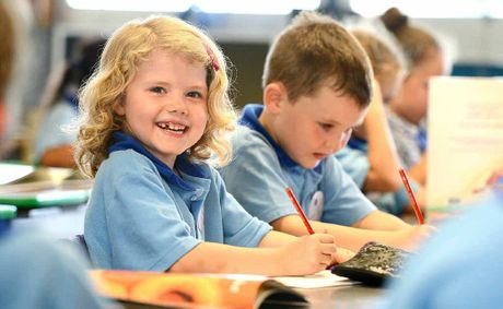 FIRST-TIMERS: Lisa Gilbert and Ryan Anderson started grade one at Raceview State School yesterday.