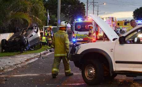 STREET SMASH: Scene of the crash involving a stolen BMW and a ute in Silkstone.