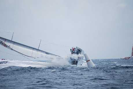 Wired capsized on Thursday during Sailing Week. Photo / Lesley Haslar