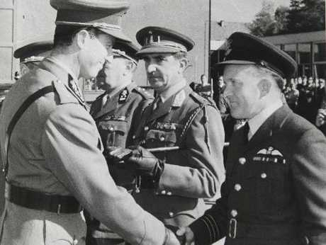 Bill Geenty (right), Hastings-born RAF Wing Commander, meets a dignitary at an RAF base in Germany in the 1970s. Photo / Supplied