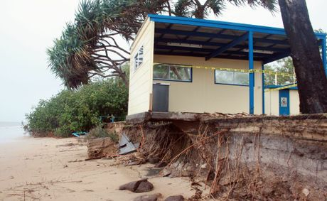 Storm surge has claimed up to ten metres of beach and trees. Torquay Caravan Park BBQ shelter, picnic table and trees have been lost to mother nature.