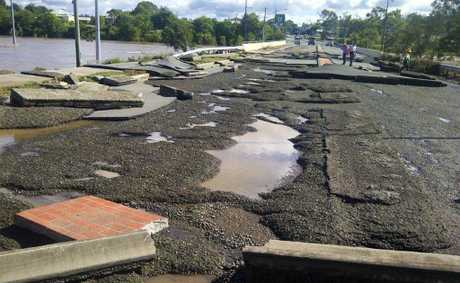 Supplied photo of damage to One Mile bridge from flooding.