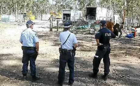 PROTEST: Three people were arrested at the CSG exploration site at Glenugie yesterday. Photo: Adam Hourigan