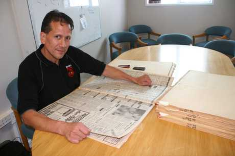 GLORY DAYS: Leon Busby digs through the Age archives as part of the research for a book he's planning on writing about the remarkable achievements enjoyed by the Kaitaia College 1st XV in the mid-80s.