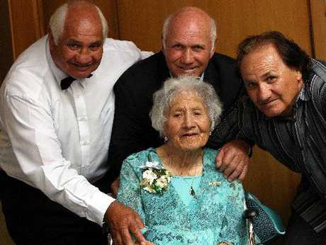 Mary Going on her 100th birthday in 2008 with her sons, from left, Ken - who died later that year - Sid and Brian. Photo / File