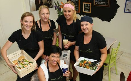 Wendy Brown of Urban Espresso &amp; Wine surrounded by her staff, Lily Nalder, Lyndel Gray, Bronte Blain and Chef - Michelle Hurley.