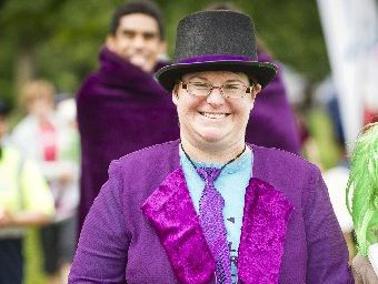 Shirley Simpson, dressed as Willy Wonka at the 2012 Hamilton Relay For Life at AgResearch, Ruakura.