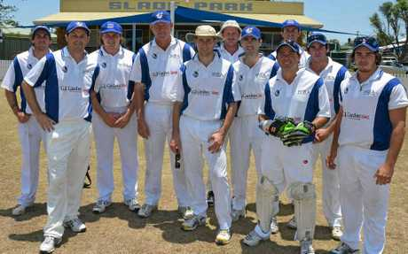 The Warwick Mitchell Shield team at Slade Park during a win against Stanthorpe this season. (From left) Chris McEvoy, Michael Bourke, Brett McEvoy, Rob Lindsay, captain Neil Cantwell, John Cleary, Brendan Malone, wicketkeeper Chris Malone, Chris Cantwell, Craig Cantwell, Paul Cantwell.