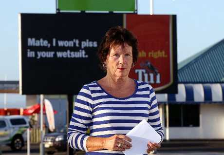 "This Tui billboard has upset a local woman because of use of the word ""piss""."