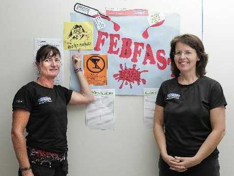 Chrissie Culpit (left) and Pru Wood at Configure Express gym in Bethlehem are participating in the Febfast challenge.