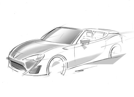 A sketch of the Toyota 86 convertible.