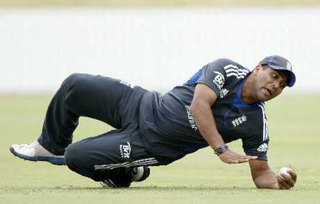 THEY'VE ARRIVED: England's Samit Patel cracks into some training after arriving in Whangarei yesterday.