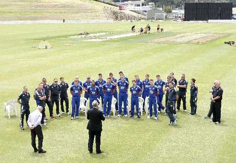 WELCOME: The England T20 cricket squad is welcomed at Cobham Oval by Whangarei Mayor Morris Cutforth, before their first practice session.