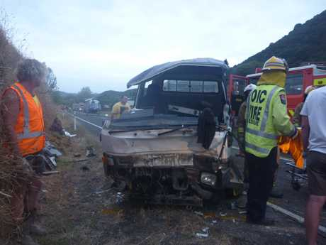 Emergency services at the scene of a crash this morning near Te Kaha.