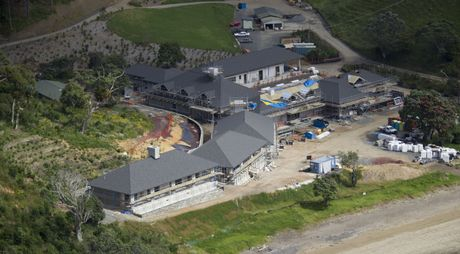Roofing has been completed and windows installed since this photograph of Russian billionaire Alexander Abramov's holiday home at Helena Bay was taken last month.  Photo / APN