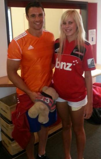 FAN: Dan Carter and Siobhan Patterson. Siobhan drove Carter and other Crusaders, from Westport to Reefton on Tuesday.