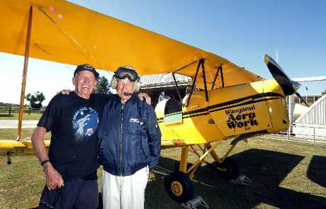 FLIGHT OF FANCY: Pilot Richmond Harding (left) and aviation enthusiast John Donald, before taking off on a dream flight.