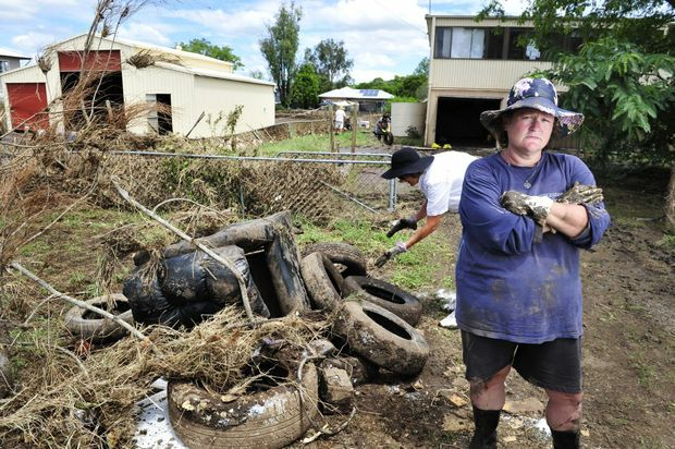 Laidley post flood 2013. Jodie Morgan outside her property on Short Street, Laidley. Photo: Rob Williams / The Queensland Times