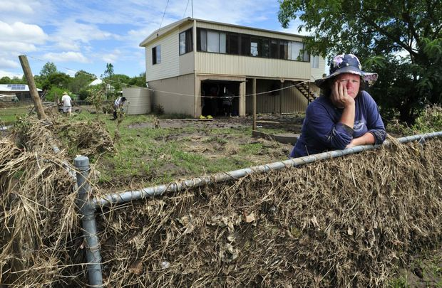 Laidley post flood 2013. Jodie Morgan outside her property on Short Street. Photo: Rob Williams / The Queensland Times