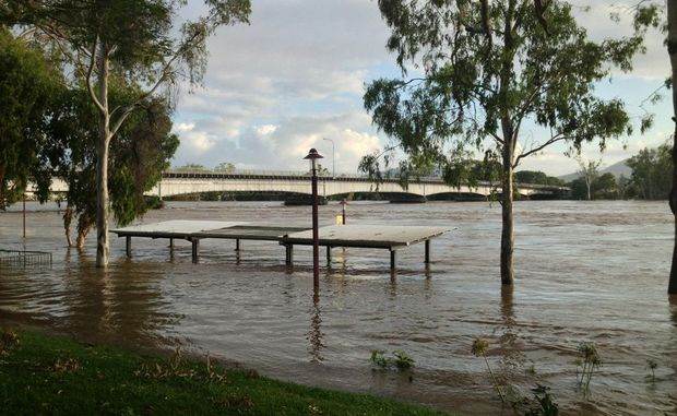The Fitzroy River just after 6.30am on February 2 as the Rockhampton region waits for it to peak. The River reached 8.52 metres at 4pm February 1 and the Bureau of Meteorology was forecasting a peak of 8.7 metres on February 2. Photo taken from across the road of The Bulletin office at 162-164 Quay St.