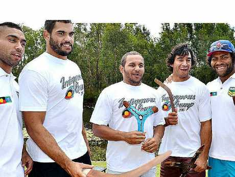 GAME'S ELITE: Nathan Merritt, Greg Inglis, Matt Bowen, Johnathan Thurston and Sam Thaiday at the NRL Indigenous Players' Camp.