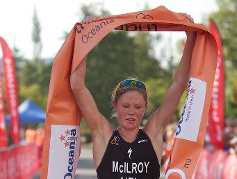 CHAMP: Wellington's Kate McIlroy wins the Women's Oceania Cup Triathlon in Taupo.