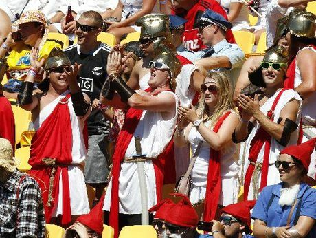 England supporters cheer their side during the Hertz Sevens rugby tournament at Westpac Stadium in Wellington.