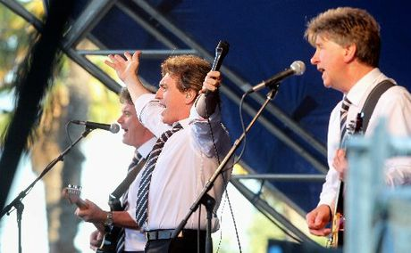 ON SONG: The Hollies, from left - guitarist Steve Lauri, lead singer Peter Howarth and guitarist Tony Hicks - performing at Church Road, Taradale last night.PHOTO/DUNCAN BROWN HBT130030-06