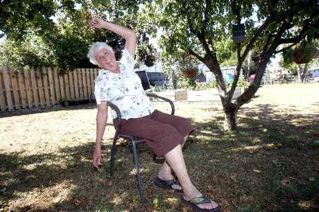 WORKING OUT: Alyson Thomsen, 73, of Masterton does chair exercises learned in the Woops exercise classes, in the shade of her apple trees.