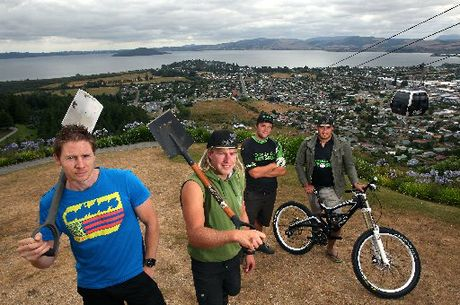 SPRINT WARRIORS: Expert trail designer/builder Chris Martin (left) and trail builders Jordie Porfilger, Joe Styles and Tak Mutu have been working long hours for the Rotorua Bike Festival.