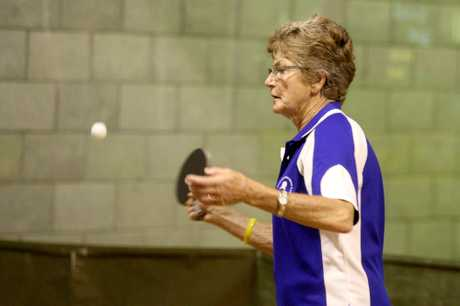 PING PONG: Trish Sinkinson has her eye on the ball playing for a place in Monday's Masters Games table tennis semifinals.