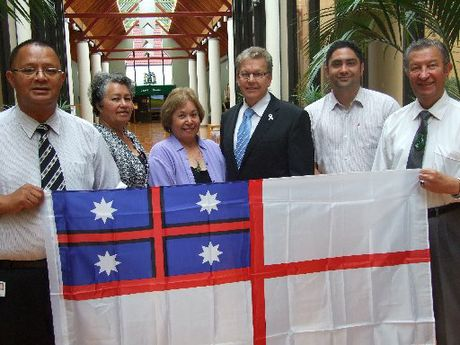 INTERIM SYMBOL: Pictured with the Maori flag are (from left): the council's director of kaupapa Maori, Mauriora Kingi, with Te Arawa Standing Committee members Waereti Tait-Rolleston, Rene Mitchell, Kevin Winters (chairman), Arapeta Tahana and Trevor Maxwell.