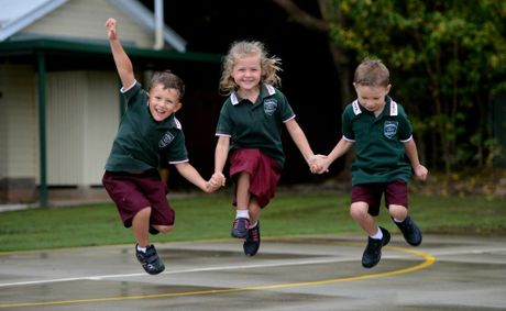 Tumbulgum public school. First day back. Sid Longhurst, Chloe-May Kabealo, Lachlan May.