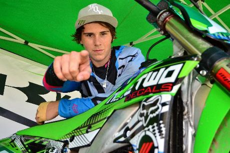 YEAH YOU: Jesse Dobson (Kawasaki KX250F), left, made an impressive debut in the senior ranks at Woodville.