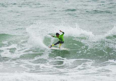 LOCAL CHAMPION: Mount Maunganui surfer Kehu Butler missed out on the Under-14 title but made no mistake to nail the Under-16 division at the 2013 Billabong Grom Series held at the Mount.
