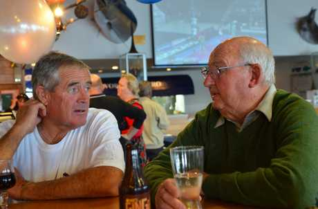 SEA TALK: Snooks Fuller (right) with Bruce Smith (who took over as skipper of the Lady Doreen when Snooks retired) enjoying a drink at the Bay of Islands Swordfish Club in Paihia.