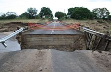 The bridge at Gatton-Esk Rd (near Lake Clarendon Rd) has been left severely damaged after last week's floods.