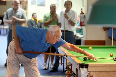 OLD HAND: Wanganui's Ralph Ingle, who had his 83rd birthday on Sunday, was the oldest competitor in the 8 ball men's pairs at the Wanganui RSA yesterday. PHOTO/BEVAN CONLEY 050213WCBRCPO03