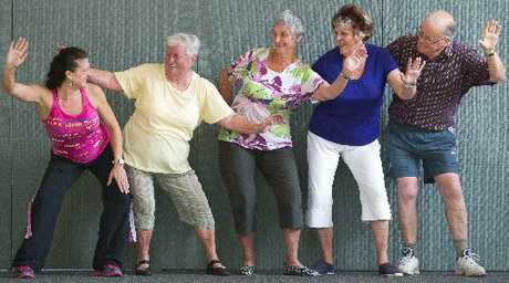 Getting into Zumba at Parksyde Older Person&#39;s Community Centre is (from left) Gayle Rattigan (Zumba instructor), Maureen Fraser, Cherie Duncan, Cherry Jenson-Horgan and Alan Cubie. Photo / Stephen Parker